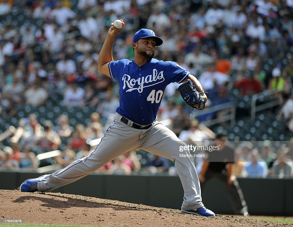 Kelvin Herrera #40 of the Kansas City Royals delivers a pitch in the sixth inning against the Minnesota Twins at Target Field on August 29, 2013 in Minneapolis, Minnesota.