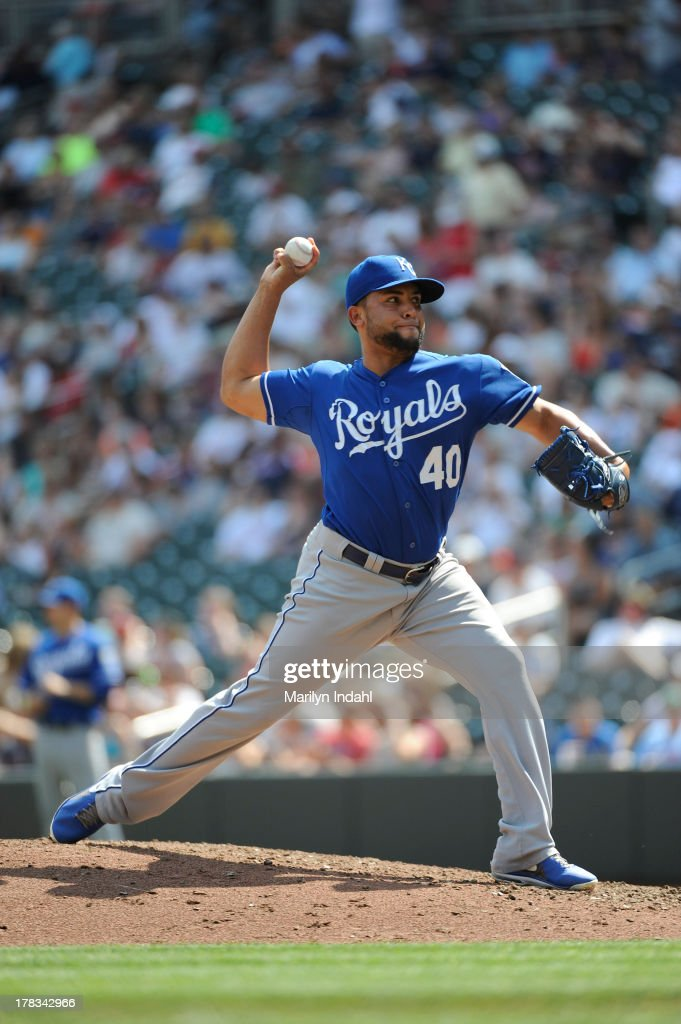 Kelvin Herrera #40 of the Kansas City Royals delivers a pitch in the seventh inning against the Minnesota Twins at Target Field on August 29, 2013 in Minneapolis, Minnesota. The Royals defeated the Twins 3-1.
