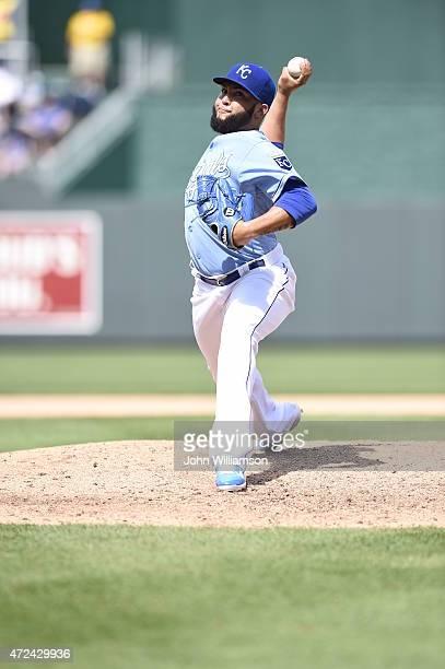 Kelvin Herrera of the Kansas City Royals pitches against the Detroit Tigers on May 3 2015 at Kauffman Stadium in Kansas City Missouri The Detroit...