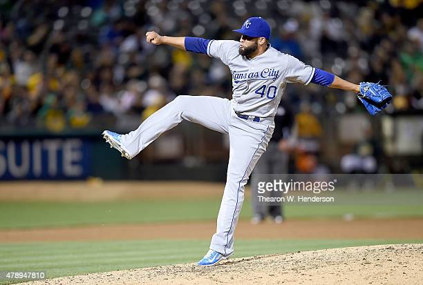 Kelvin Herrera of the Kansas City Royals pitches against the Oakland Athletics in the bottom of the eighth inning at Oco Coliseum on June 26 2015 in...