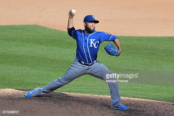 Kelvin Herrera of the Kansas City Royals pitches against the St Louis Cardinals in the seventh inning at Busch Stadium on June 13 2015 in St Louis...