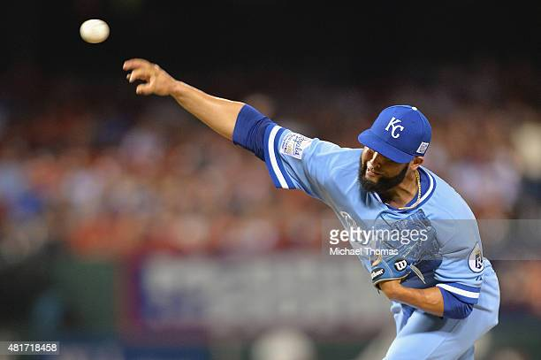 Kelvin Herrera of the Kansas City Royals pitches against the St Louis Cardinals in the eighth inning at Busch Stadium on July 23 2015 in St Louis...