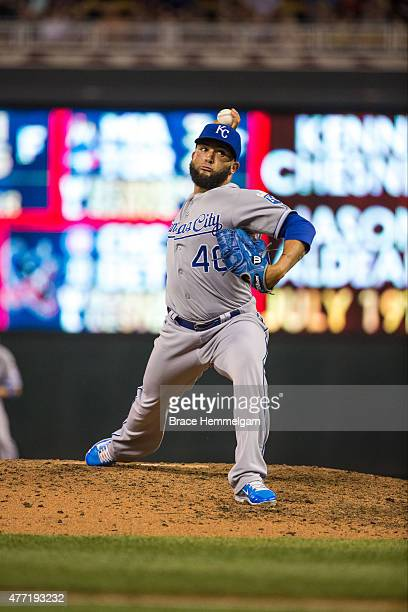 Kelvin Herrera of the Kansas City Royals pitches against the Minnesota Twins on June 9 2015 at Target Field in Minneapolis Minnesota The Royals...