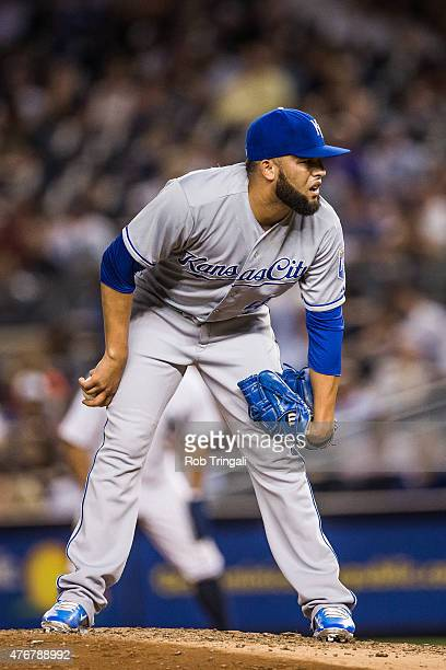 Kelvin Herrera of the Kansas City Royals pitches during the game against the New York Yankees at Yankee Stadium on May 26 2015 in the Bronx borough...