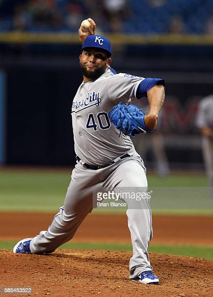 Kelvin Herrera of the Kansas City Royals pitches during the ninth inning of a game against the Tampa Bay Rays on August 2 2016 at Tropicana Field in...