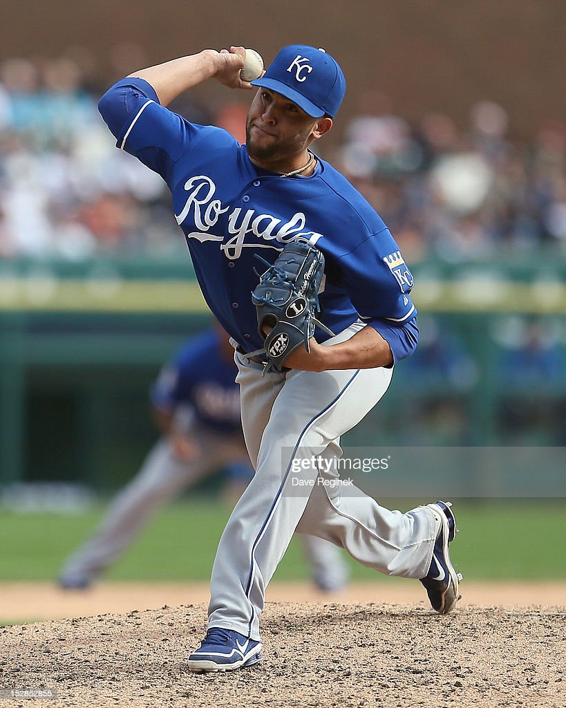 Kelvin Herrera #40 of the Kansas City Royals pitches in the bottom of the ninth inning during an MLB game against the Detroit Tigers at Comerica Park on September 27, 2012 in Detroit, Michigan.