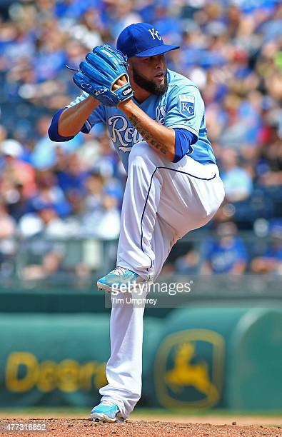 Kelvin Herrera of the Kansas City Royals pitches in the eighth inning of a game against the Texas Rangers at Kauffman Stadium on June 6 2015 in...