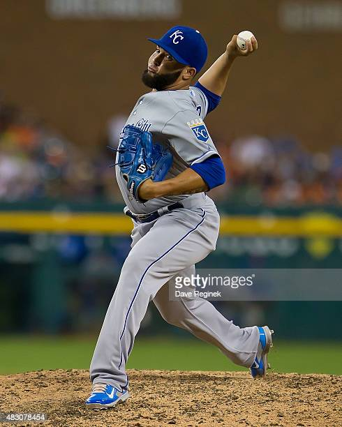 Kelvin Herrera of the Kansas City Royals pitches in the eighth inning during a MLB game against the Detroit Tigers at Comerica Park on August 5 2015...
