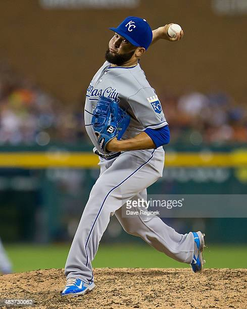 Kelvin Herrera of the Kansas City Royals pitches in the eighth inning against the Detroit Tigers at Comerica Park on August 5 2015 in Detroit...