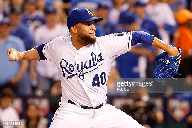 Kelvin Herrera of the Kansas City Royals pitches in the sixth inning while taking on the Toronto Blue Jays in game six of the 2015 MLB American...