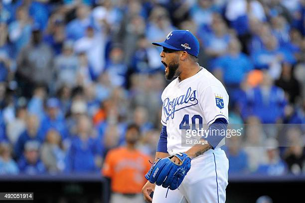 Kelvin Herrera of the Kansas City Royals reacts after an out in the seventh inning against the Houston Astros during game two of the American League...
