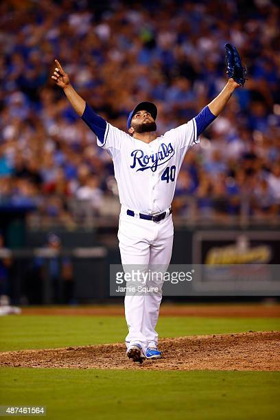 Kelvin Herrera of the Kansas City Royals reacts after striking out Byron Buxton of the Minnesota Twins during the 7th inning of the game at Kauffman...