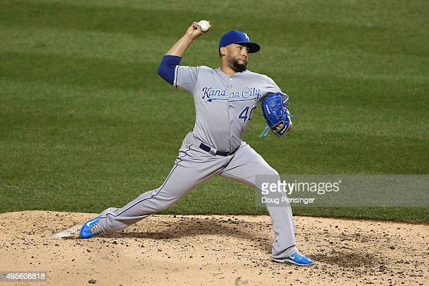 Kelvin Herrera of the Kansas City Royals throws a pitch against the New York Mets during Game Five of the 2015 World Series at Citi Field on November...