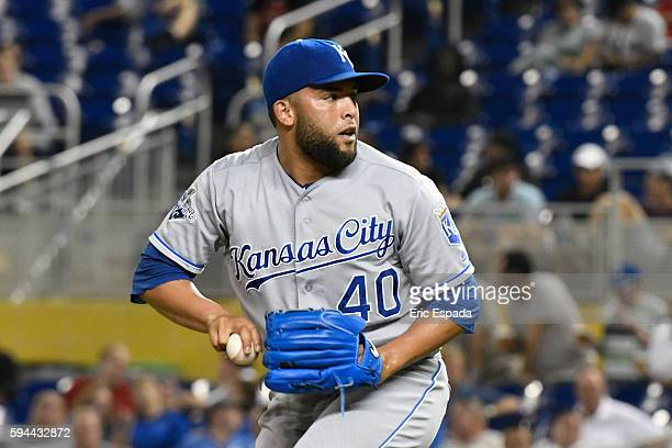 Kelvin Herrera of the Kansas City Royals throws a pitch during the 9th inning against the Miami Marlins at Marlins Park on August 23 2016 in Miami...