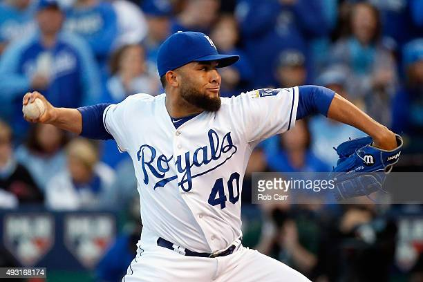 Kelvin Herrera of the Kansas City Royals throws a pitch in the eighth inning against the Toronto Blue Jays during game two of the American League...