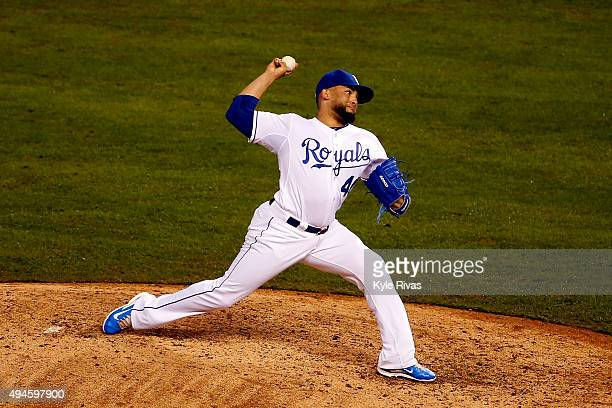 Kelvin Herrera of the Kansas City Royals throws a pitch in the eighth inning against the New York Mets during Game One of the 2015 World Series at...