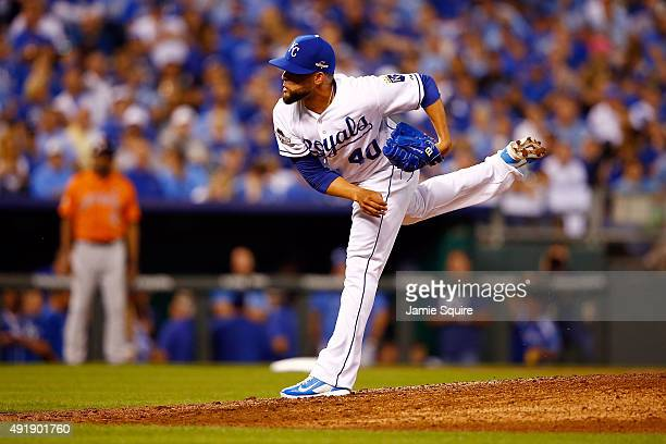 Kelvin Herrera of the Kansas City Royals throws a pitch in the seventh inning against the Houston Astros during game one of the American League...
