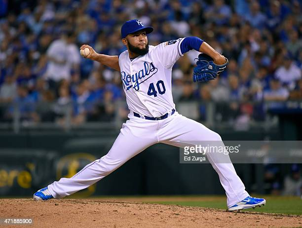 Kelvin Herrera of the Kansas City Royals throws in the eighth inning against the Detroit Tigers on May 1 2015 at Kauffman Stadium in Kansas City...