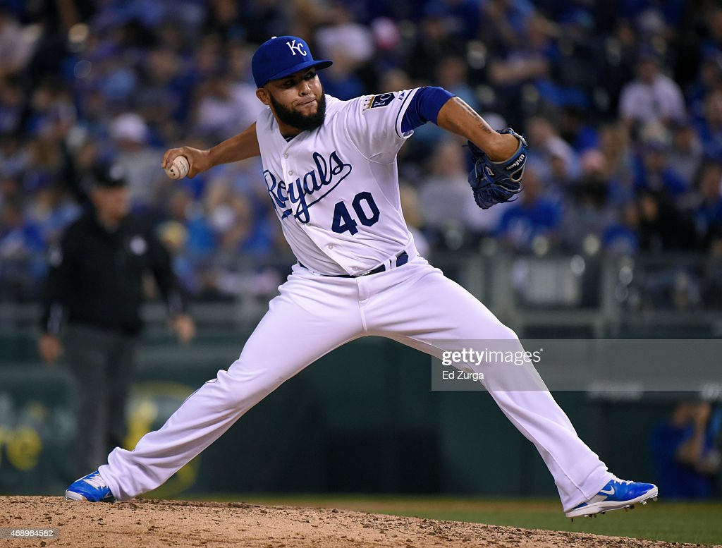 Kelvin Herrera #40 of the Kansas City Royals throws in the seventh inning against the Chicago White Sox on April 8, 2015 at Kauffman Stadium in Kansas City, Missouri.