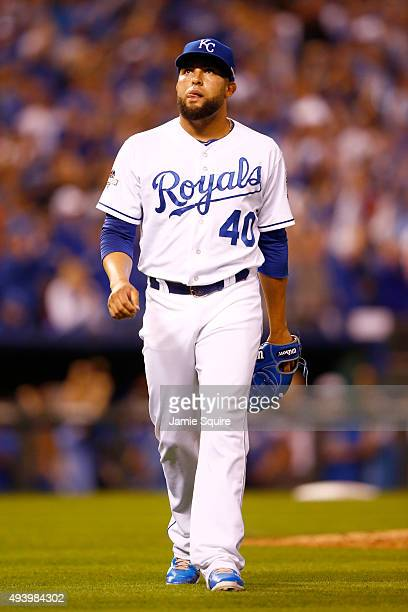 Kelvin Herrera of the Kansas City Royals walks off the mound after the final out in the sixth inning while taking on the Toronto Blue Jays in game...