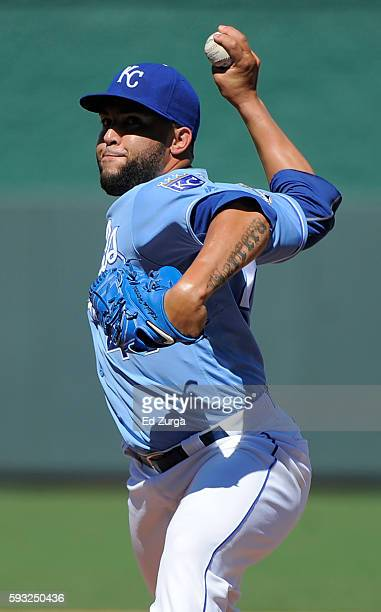 Kelvin Herrera of the Kansas City Royals warms up before throwing against the Minnesota Twins in the ninth inning at Kauffman Stadium on August 21...
