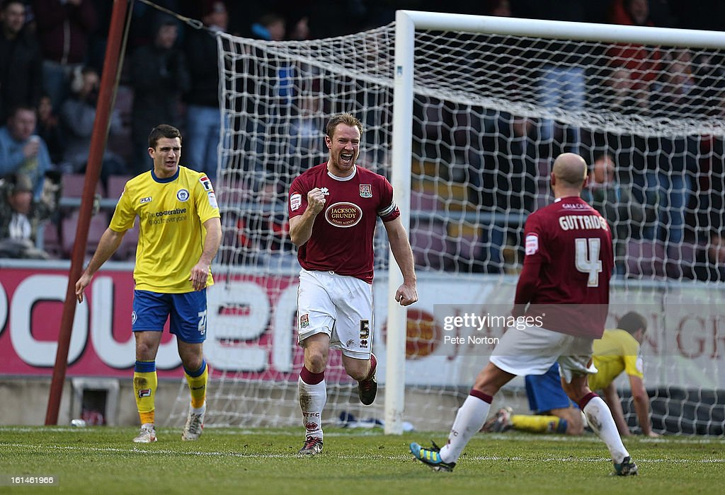 Kelvin Langmead of Northampton Town celebrates after scoring his sides 2nd goal during the npower League Two match between Northampton Town and Rochdale at Sixfields Stadium on February 9, 2013 in Northampton, England.