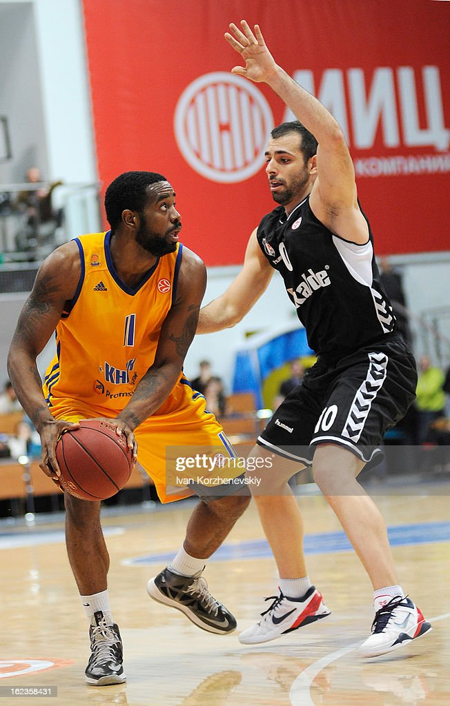 Kelvin Rivers, #11 of BC Khimki Moscow Region competes with Fikret Can Akin, #10 of Besiktas JK Istanbul during the 2012-2013 Turkish Airlines Euroleague Top 16 Date 8 between BC Khimki Moscow Region v Besiktas JK Istanbul at Basketball Center of Moscow on February 22, 2013 in Moscow, Russia.