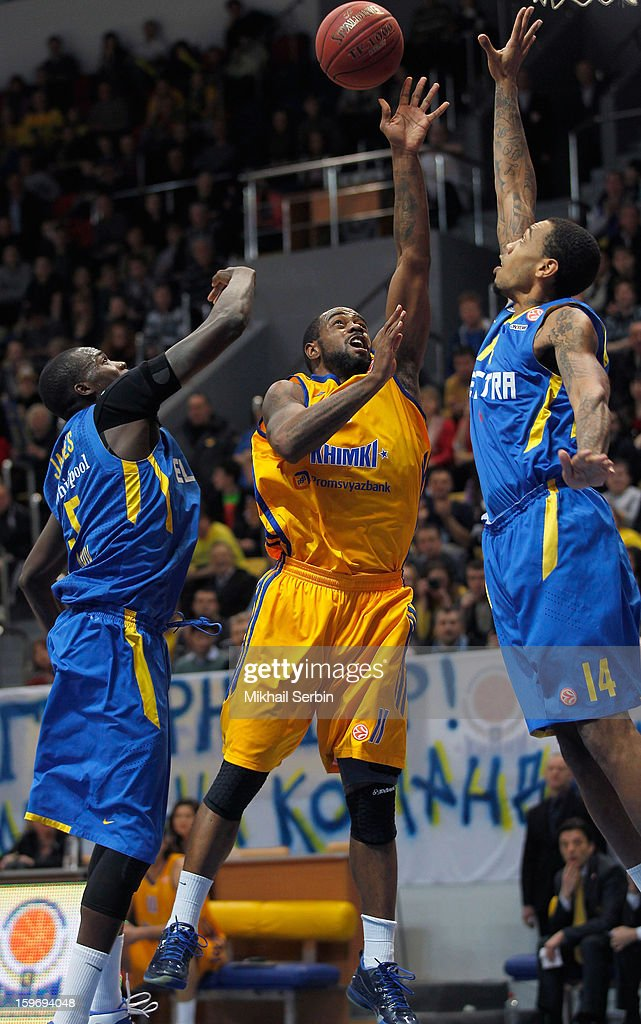 Kelvin Rivers, #11 of BC Khimki Moscow Region competes with Malkolm Thomas, #13 of Maccabi Electra Tel Aviv during the 2012-2013 Turkish Airlines Euroleague Top 16 Date 4 between BC Khimki Moscow Region v Maccabi Electra Tel Aviv at Basketball Center of Moscow Region on January 18, 2013 in Moscow, Russia.