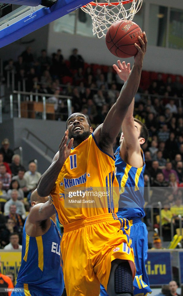 Kelvin Rivers, #11 of BC Khimki Moscow Region in action during the 2012-2013 Turkish Airlines Euroleague Top 16 Date 4 between BC Khimki Moscow Region v Maccabi Electra Tel Aviv at Basketball Center of Moscow Region on January 18, 2013 in Moscow, Russia.