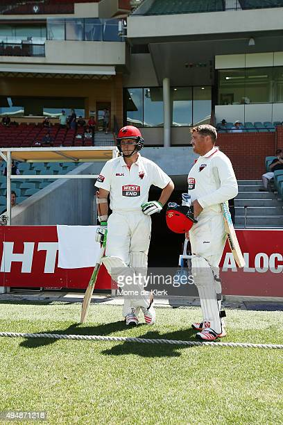 Kelvin Smith and Mark Cosgrove of the Redbacks prepares to bat during day three of the Sheffield Shield match between South Australia and New South...