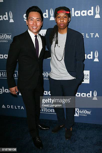 Kelvin Yu and Lena Waithe arrive at the 27th Annual GLAAD Media Awards at The Beverly Hilton Hotel on April 2 2016 in Beverly Hills California