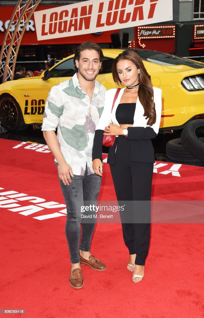 Kem Cetinay (L) and Amber Davies attend the 'Logan Lucky' UK Premiere at Vue West End on August 21, 2017 in London, England.