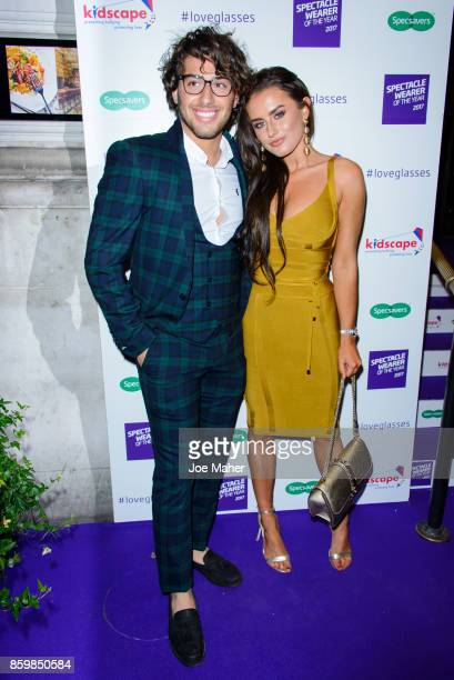 Kem Cetinay and Amber Davies during a photocall for Specsaver's Spectacle Wearer Of The Year at 8 Northumberland Avenue on October 10 2017 in London...