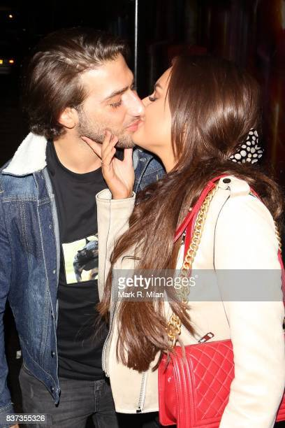 Kem Cetinay and Amber Davies leaving Gabeto restaurant in Camden on August 22 2017 in London England