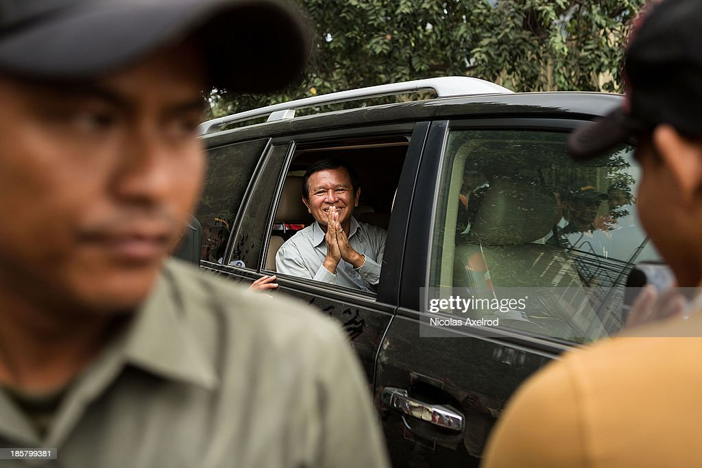 <a gi-track='captionPersonalityLinkClicked' href=/galleries/search?phrase=Kem+Sokha&family=editorial&specificpeople=659005 ng-click='$event.stopPropagation()'>Kem Sokha</a>, Vice-President of the CNRP arrives at Freedom Park on October 25, 2013 in Phnom Penh, Cambodia. The Cambodian National Rescue Party hold the last day of a three day protest in commemoration of the 22nd anniversary of the October 23, 1991 Paris Peace Accords. The CNRP delivered letters to the Australian, Russian, Japanese, Indonesian and Chinese Embassies asking to pressure the Cambodian government to resolving the current political deadlock caused by a dispute over the country's July elections.