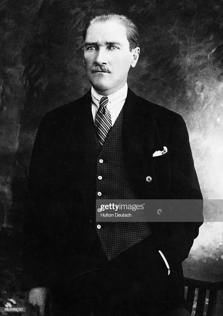 Kemal Ataturk poses in a suit for a portrait. Ataturk led the Turkish Nationalist Movement of 1909 and was the first President of Turkey (1923-1938) after founding the Republic of Turkey upon the fall of the Ottoman Empire at the end of World War I. He was responsible for many reforms aimed to modernize the country.