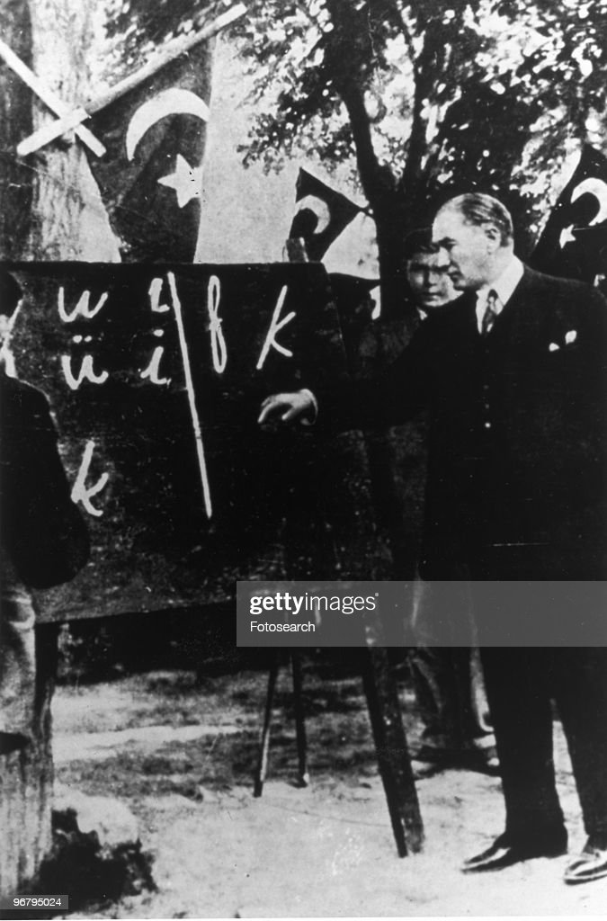 Kemal Ataturk teaching the Roman alphabet in Constantinople, circa 1928. (Photo by Fotosearch/Getty Images).