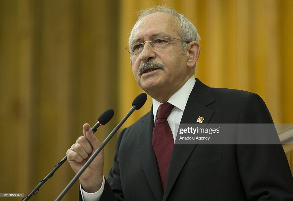 Kemal Kilicdaroglu, head of the Republican Peoples Party (CHP), gives a speech during the parliamentary group meeting of his party at the Grand National Assembly of Turkey (TBMM) in Ankara, Turkey on May 3, 2016.