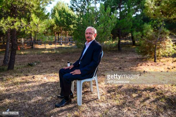 Kemal Kilicdaroglu leader of the main opposition Republican People's Party poses at the camping site during the 'Justice Congress' of his party on...