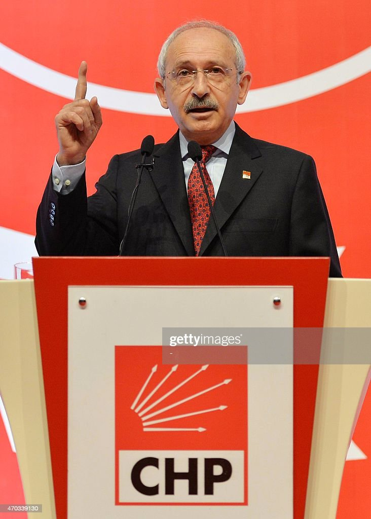 <a gi-track='captionPersonalityLinkClicked' href=/galleries/search?phrase=Kemal+Kilicdaroglu&family=editorial&specificpeople=7129513 ng-click='$event.stopPropagation()'>Kemal Kilicdaroglu</a>, the leader of Turkey's main opposition Republican People's Party (CHP), gestures as he delivers a speech during a party event in Ankara on April 19, 2015 AFP PHOTO / STRINGER