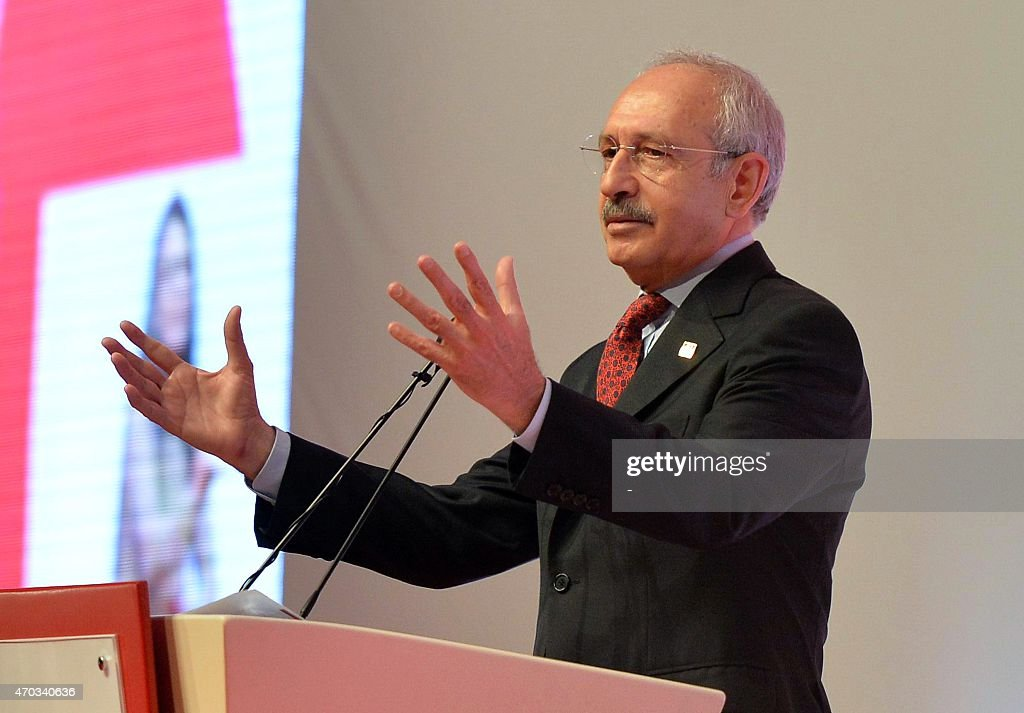 <a gi-track='captionPersonalityLinkClicked' href=/galleries/search?phrase=Kemal+Kilicdaroglu&family=editorial&specificpeople=7129513 ng-click='$event.stopPropagation()'>Kemal Kilicdaroglu</a>, the leader of Turkey's main opposition Republican People's Party (CHP), gestures as he delivers a speech during a party event in Ankara on April 19, 2015. AFP PHOTO / STRINGER