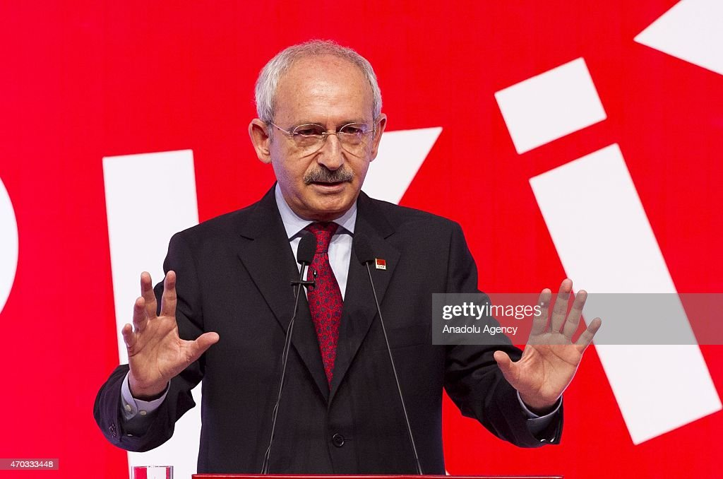 <a gi-track='captionPersonalityLinkClicked' href=/galleries/search?phrase=Kemal+Kilicdaroglu&family=editorial&specificpeople=7129513 ng-click='$event.stopPropagation()'>Kemal Kilicdaroglu</a>, Turkey's main opposition Republican Peoples Party (CHP) leader delivers a speech during a party event in Ankara, Turkey on April 19, 2015. CHP's election bulletin was announced and candidates running in the June 7 elections was introduced to public during the event on Sunday.