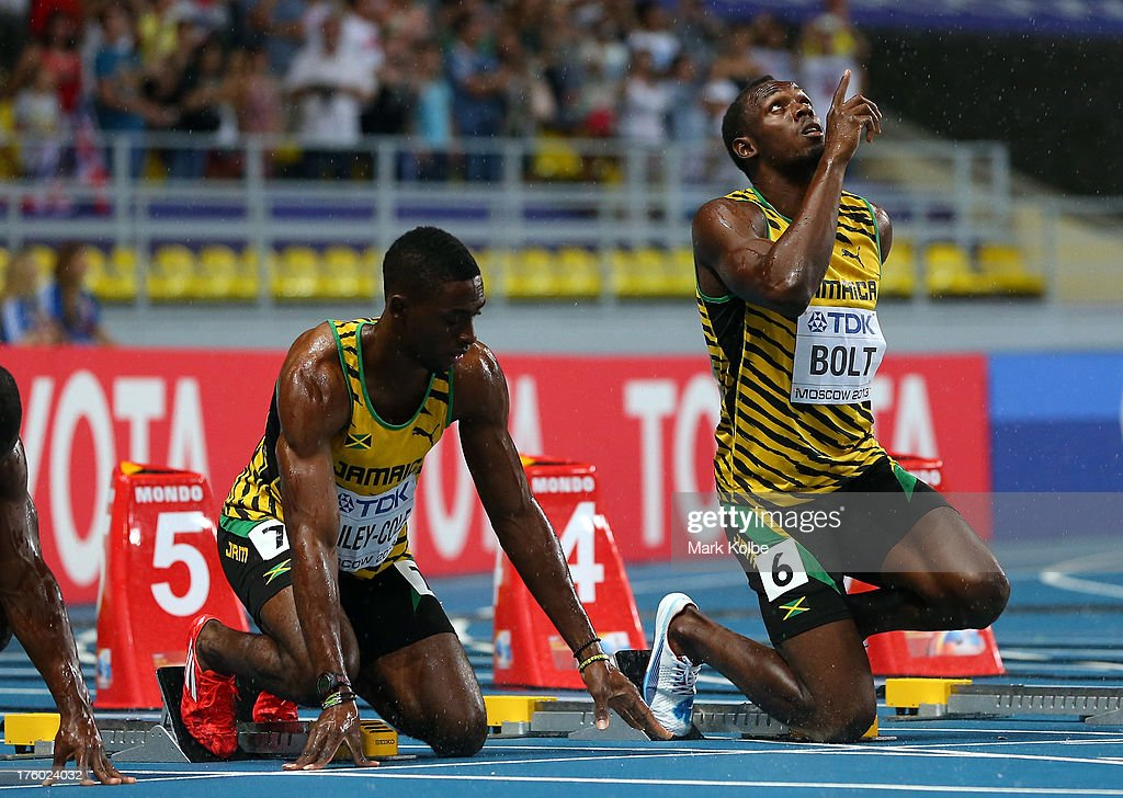 Kemar Bailey-Cole of Jamaica and <a gi-track='captionPersonalityLinkClicked' href=/galleries/search?phrase=Usain+Bolt&family=editorial&specificpeople=604196 ng-click='$event.stopPropagation()'>Usain Bolt</a> of Jamaica prepare to start in the Men's 100 metres Final uring Day Two of the 14th IAAF World Athletics Championships Moscow 2013 at Luzhniki Stadium on August 11, 2013 in Moscow, Russia.
