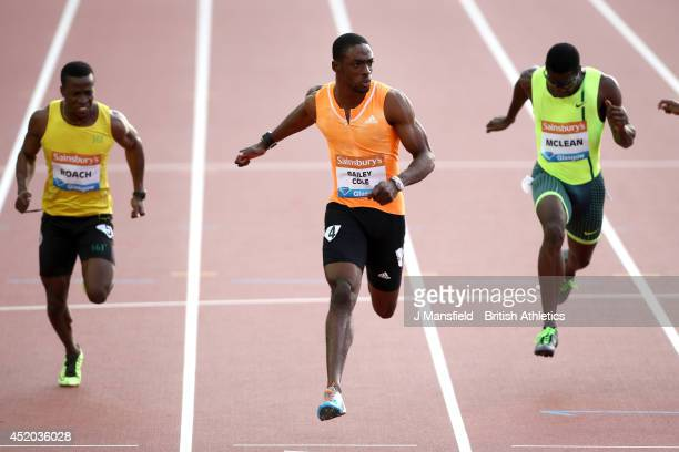 Kemar BaileyCole of Jamaica comes in to win the Mens 100m B ahead of Sean McLean of the USA and Roach Kimmari of Jamaica during the IAAF Diamond...