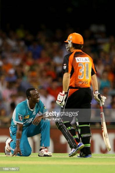 Kemar Roach of the Heat looks on during the Big Bash League final match between the Perth Scorchers and the Brisbane Heat at the WACA on January 19...