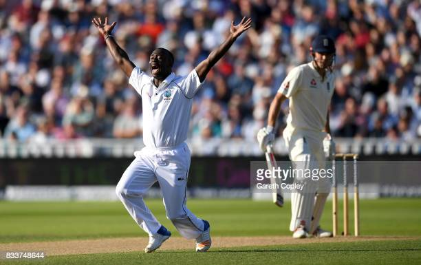 Kemar Roach of the West Indies appeals during the 1st Investec Test match between England and West Indies at Edgbaston on August 17 2017 in...