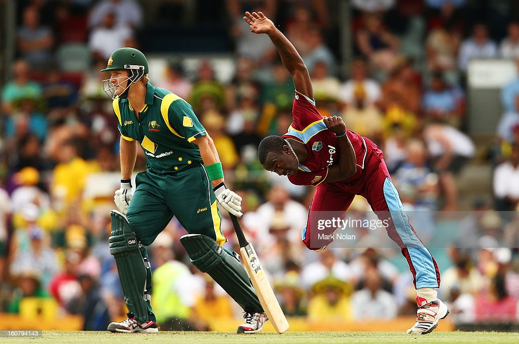 Kemar Roach of the West Indies bowls during the Commonwealth Bank One Day International Series between Australia and the West Indies at Manuka Oval on February 6, 2013 in Canberra, Australia.