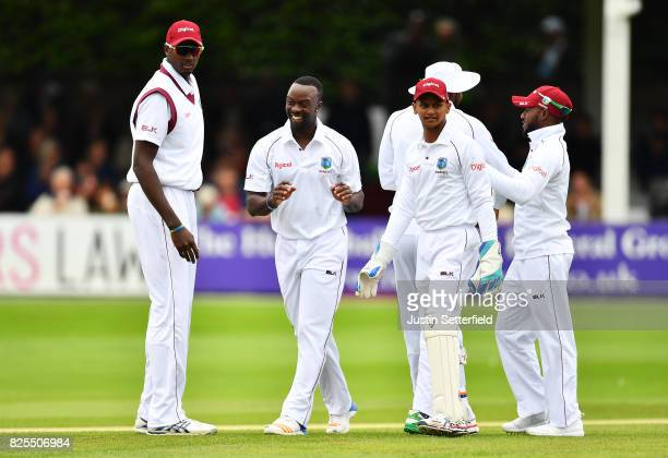 Kemar Roach of the West Indies celebrates taking a wicket during the Tour Match between Essex and West Indies at Cloudfm County Ground on August 2...