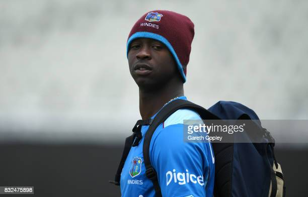 Kemar Roach of the West Indies during a nets session at Edgbaston on August 16 2017 in Birmingham England