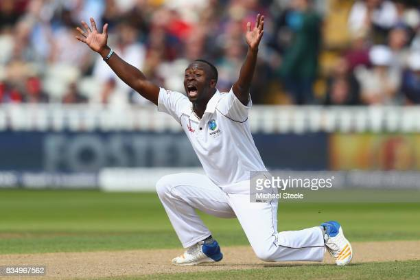 Kemar Roach of West Indies appeals unsuccessfully for the wicket of Alastair Cook during day two of the 1st Investec Test match between England and...
